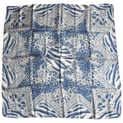1990s Silk Escada Blue Zebra Scarf Never worn New Old Stock