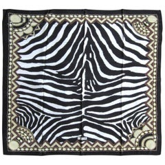 1990s Silk Escada Black & White Zebra Scarf Never worn
