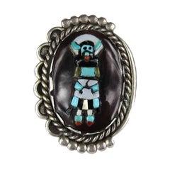 Native American Mud Head People Sterling silver Ring Augustine & Rosalie Pinto