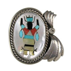 Native American Navajo Inlaid Ring Sterling Silver Gilbert Adeky