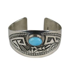 Native American Pawn Turquoise Sterling SIlver Cuff  Bracelet