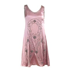 "1920s Pink Silk Hand Beaded ""Gatsby"" Flapper Dress"