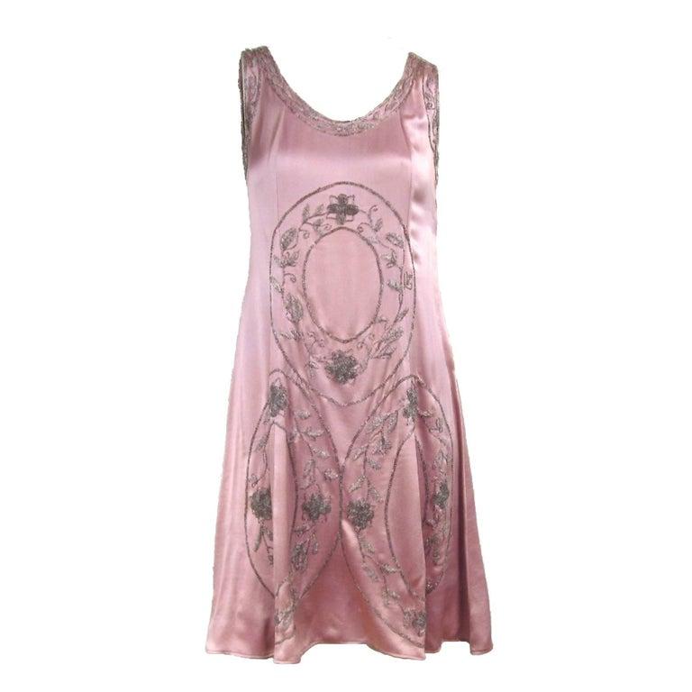 """1920s Pink Silk Hand Beaded """"Gatsby"""" Flapper Dress"""