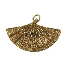 VIntage 18 Karat Gold Fan Charm Pendant