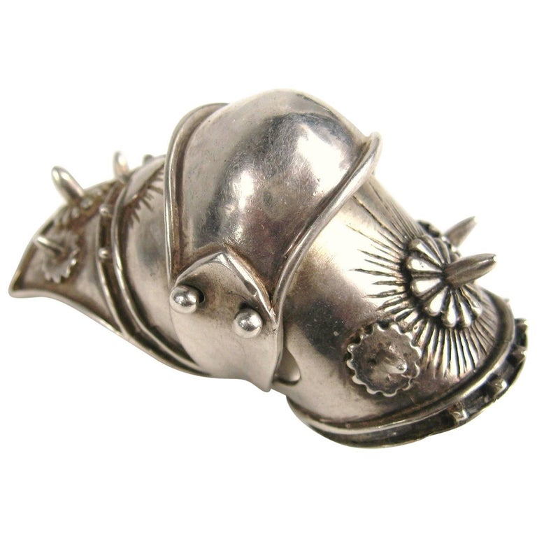 Large Articulated Sterling Silver Armor Shield Ring Viking Goth  For Sale