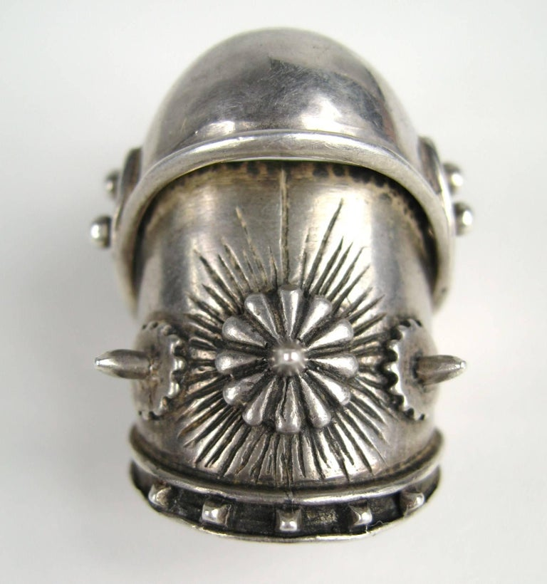 Large Articulated Sterling Silver Armor Shield Ring Viking Goth  In Good Condition For Sale In Wallkill, NY