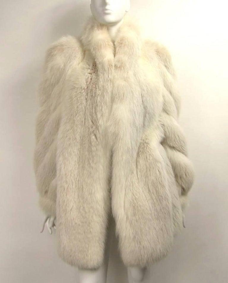1990s White Fox Fur Jacket Swirl Sleeves 1