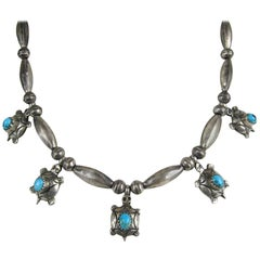 Native American Sterling Silver Turquoise Turtle Fetish Necklace Old Pawn