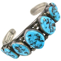 Sterling Silver Native American sleeping beauty Navajo Turquoise Cuff Bracelet