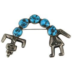 Early Navajo Sterling Turquoise Man Yei Hatband Brooch Pin