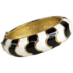 Ciner Black & White Bangle Bracelet 1990s New, Never Worn