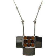 David Anderson Modernist Sterling Silver Necklace & Enameled Pendant