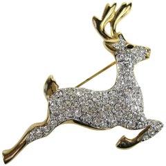 SWAROVSKI Crystal Deer Gold Gilt Brooch Pin Never Worn 1990s