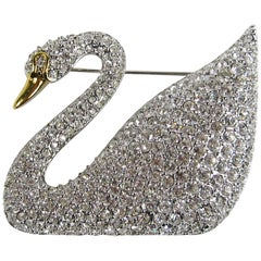 SWAROVSKI Crystal Iconic Swan Bug Brooch Pin New, Never Worn 1990s