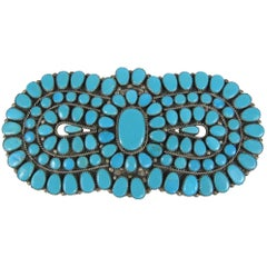 Zuni Native American petit Point Sterling Silver Turquoise Brooch - Pin