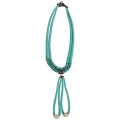 Santo Domingo Pueblo Heishe Turquoise, Clam Shell Coral Necklace w Jacla