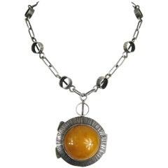 Vintage Sterling Silver Amber Locket Pendant Necklace