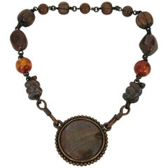Stephen Dweck Necklace Snake Amber Wood Necklace New, Never Worn 1980s