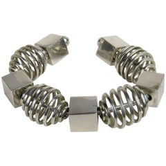 Sterling silver Modernist Cube Spiral Cube Bracelet Cuff