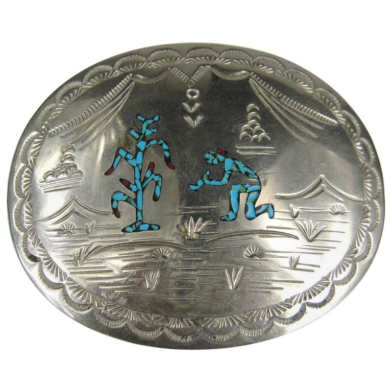 Turquoise & Coral Sterling Silver Native American Belt Buckle  For Sale