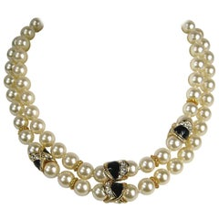 Ciner Gold Gilt Pearl Enamel Necklace New from the 1990s Never worn