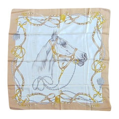 Escada Silk Scarf Horse Motif New, Never Worn 1990s