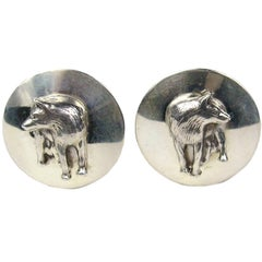 Carol Felley Sterling SIlver Fox Earrings 1992, New Never Worn