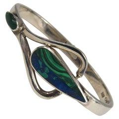 Sterling Silver Malachite Lapis Lazuli Mexican Bracelet
