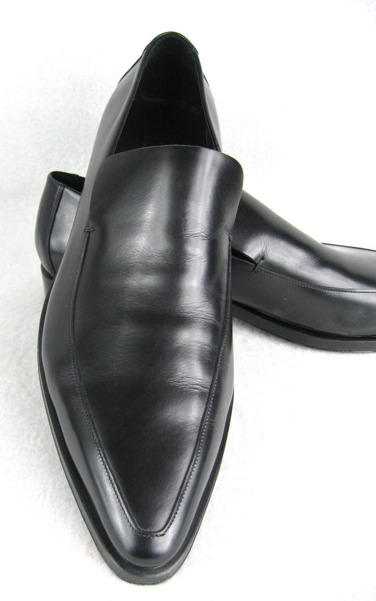 Gucci Size 13 Men S Leather Nero Black Slip On Loafers