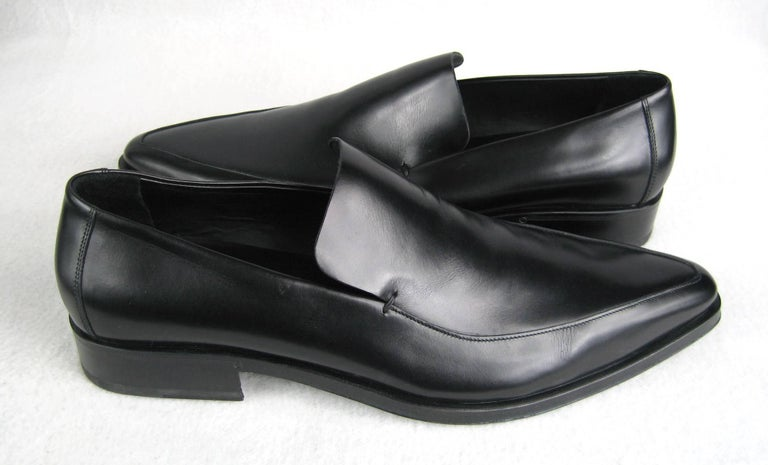 c13a908cefa GUCCI Size 13 Men s Leather Nero Black Slip On Loafers Shoes NEW For Sale 1