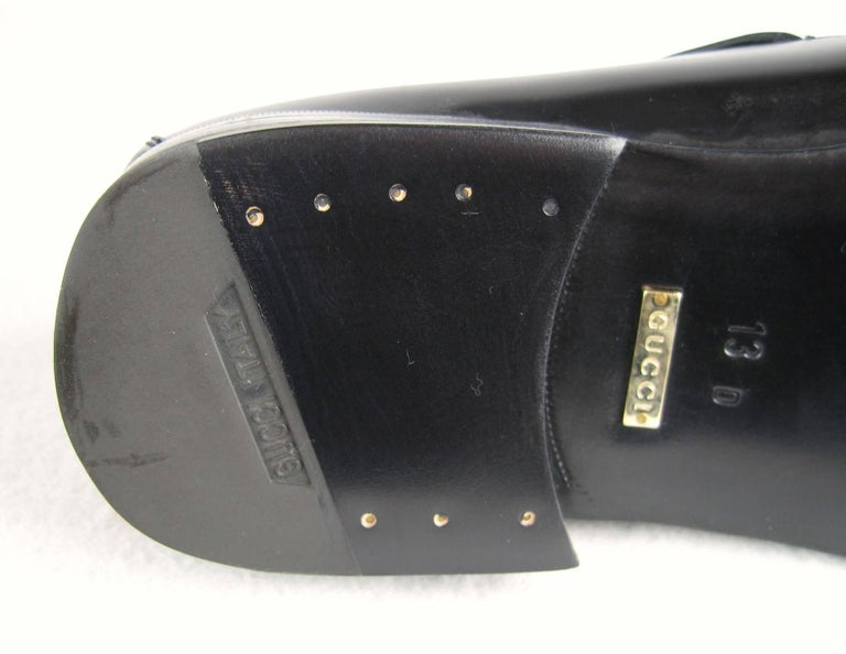 GUCCI Size 13 Men's Leather Nero Black Slip On Loafers Shoes NEW For Sale 4