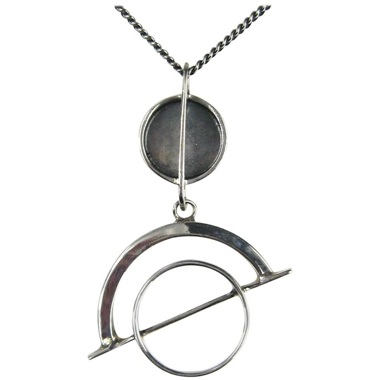 Ed Wiener Sterling Silver Modernist Linear Pendant Necklace C. 1958 For Sale