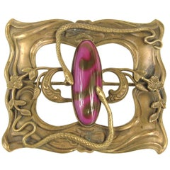Art Nouveau Snake Venetian glass serpent Brooch Pin