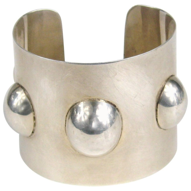 Vintage Taxco Mexican Sterling Silver Wide Cuff Warrior Bracelet  For Sale