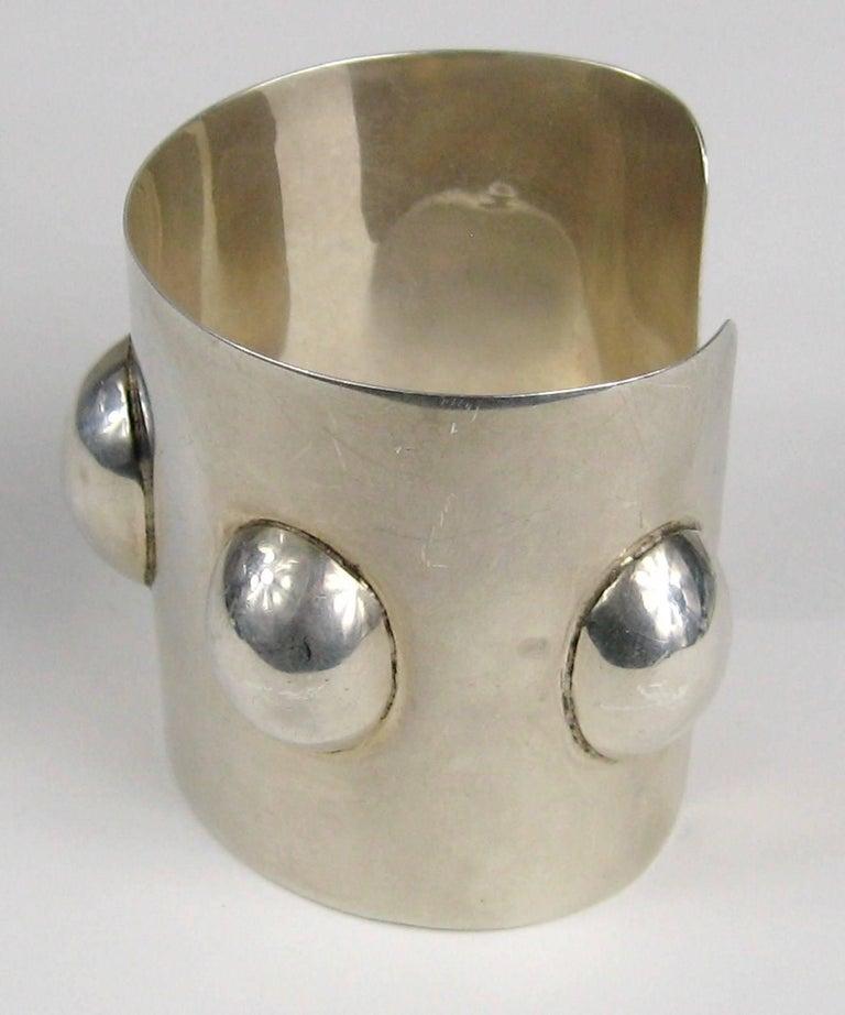 Women's or Men's Vintage Taxco Mexican Sterling Silver Wide Cuff Warrior Bracelet  For Sale