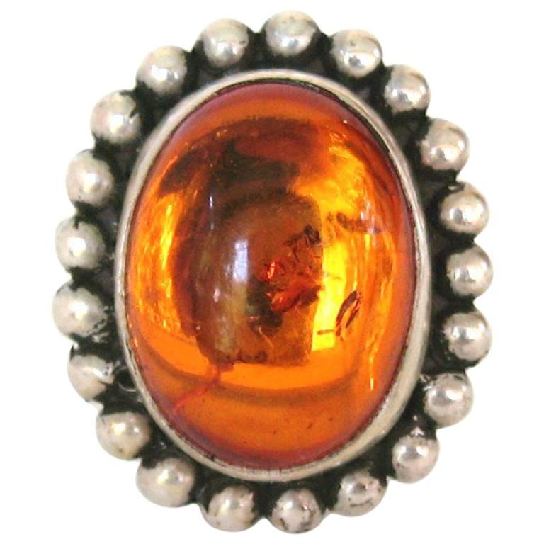 Steven Dweck Sterling Silver AMBER Ring 1990s Never Worn  For Sale