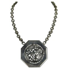 """Outstanding Stephen Dweck """"OOAK"""" Sterling Silver Disc Necklace 1980s Never worn"""