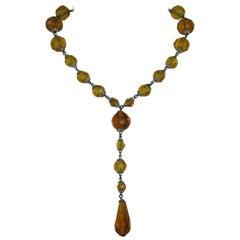 1920s Art Deco Amber Glass Sautoir Necklace