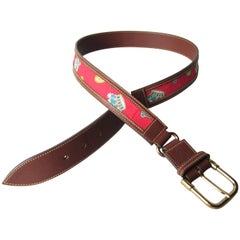 Gucci Leather King Crown Belt New, Never Worn 1990s