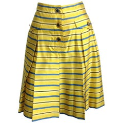 1990s Yves Saint Laurent Silk Dupioni Pleated Skirt size 34