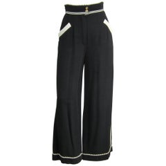 1990s Black Chanel High waisted Wide leg Pants