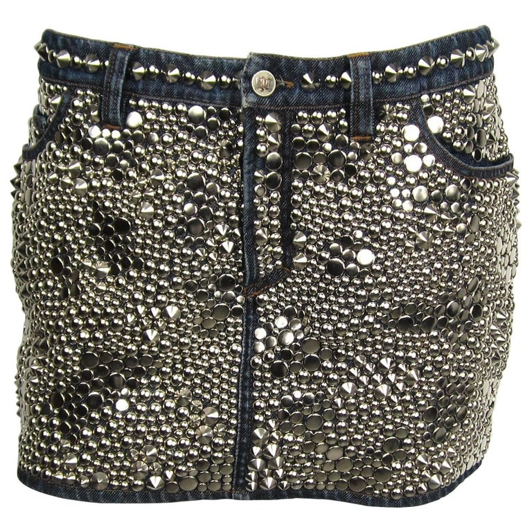 Stunning 1990s Gianni Versace Studded Denim Mini Skirt