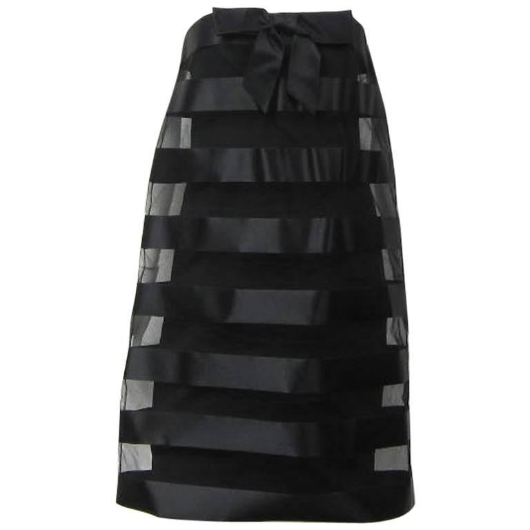 Chanel A Line Bow Front Strapless Black Mini Baby doll Dress
