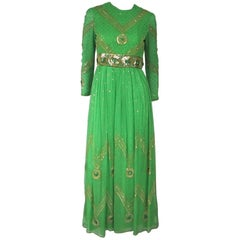 Vintage Saz Surjit and Adash Gill 1970s Beaded Silk Dress Gown