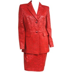 1990s Escada Red Paisley Embossed Leather Jacket Blazer & Skirt New with tags