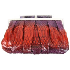 Judith Leiber Ombre Plum to Red Snake Skin Clutch Handbag New with tags