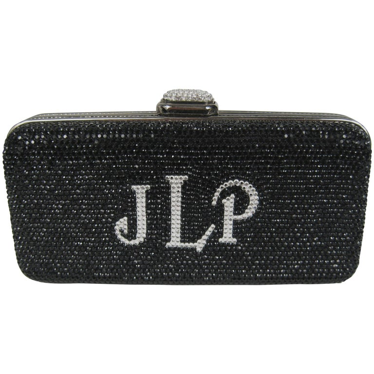 Judith Leiber Black JLP Black Silver Minaudiere Clutch Double sided New with Tag