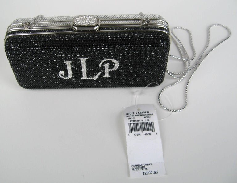 Judith Leiber Black JLP Black Silver Minaudiere Clutch Double sided New with Tag In New Condition For Sale In Wallkill, NY