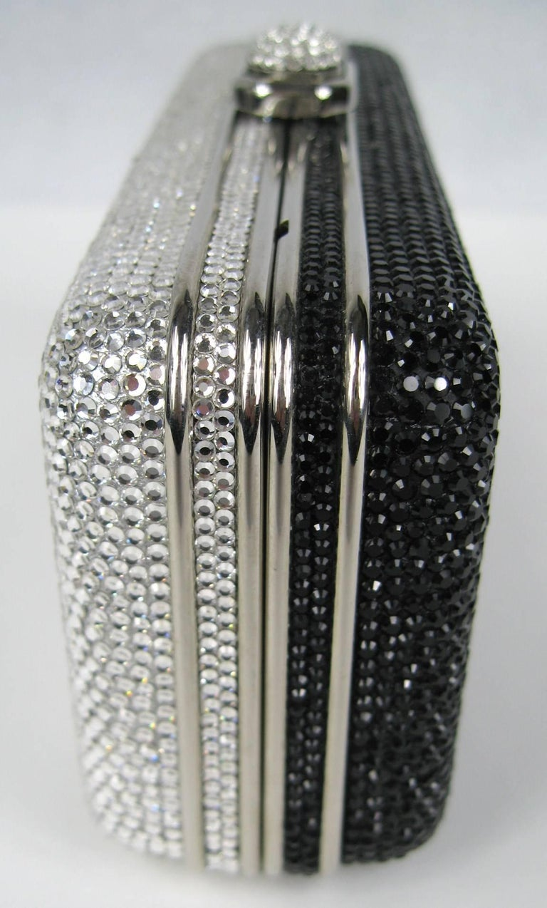 Women's Judith Leiber Black JLP Black Silver Minaudiere Clutch Double sided New with Tag For Sale