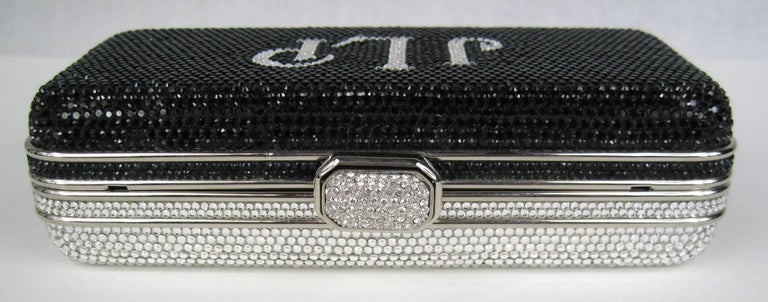 Judith Leiber Black JLP Black Silver Minaudiere Clutch Double sided New with Tag For Sale 1